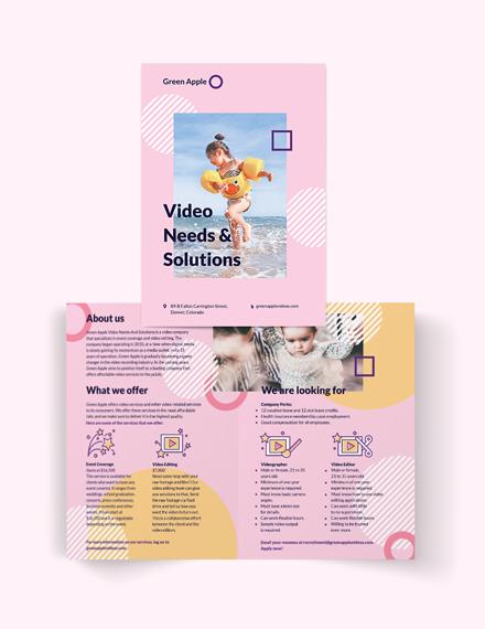 video bi fold brochure