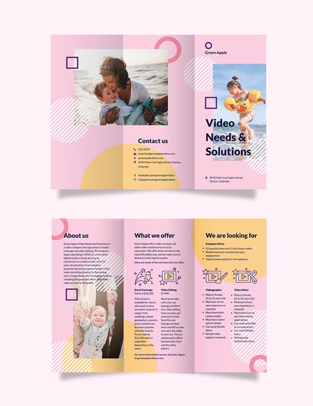 video tri fold brochure