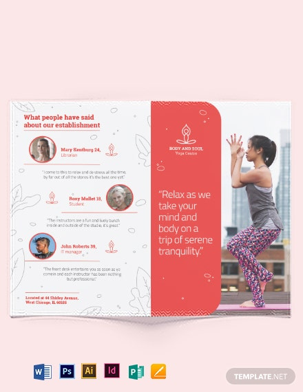 yoga instructor bi fold brochure