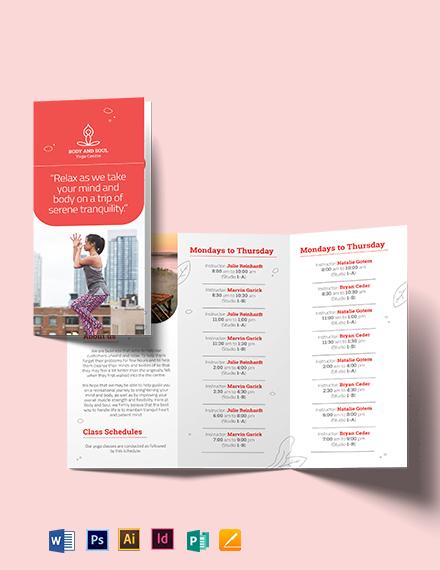 Yoga Instructor Tri-Fold Brochure Template