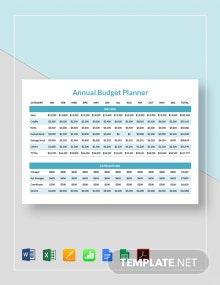 Annual Budget Planner Template