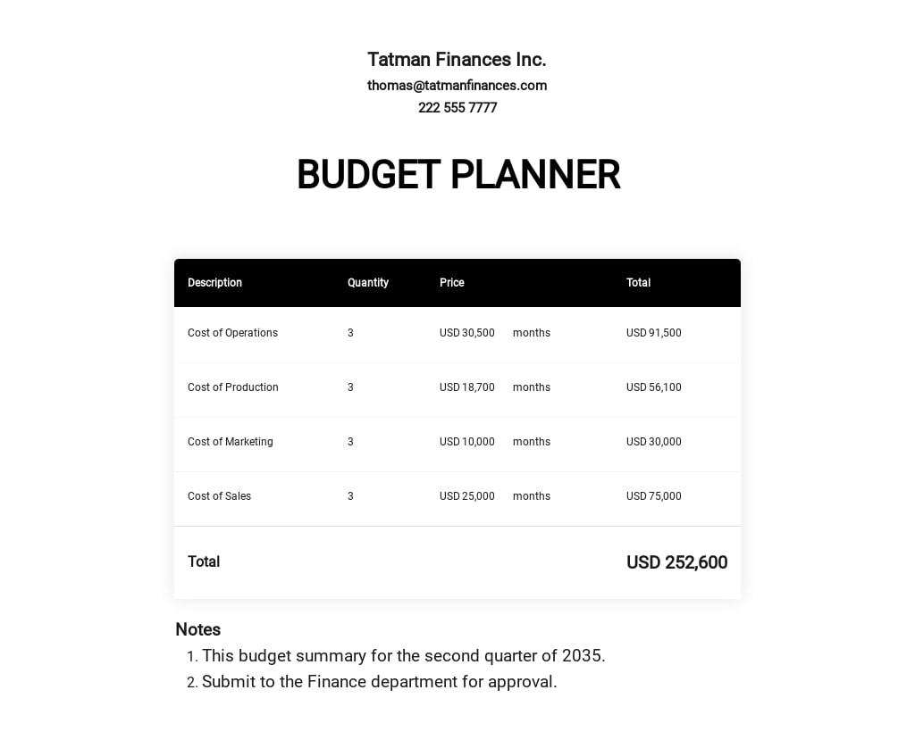 Budget Planner Template