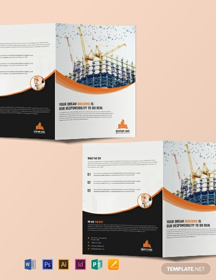 Free Construction Company Bi-Fold Brochure Template