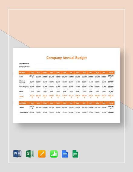 company annual budget