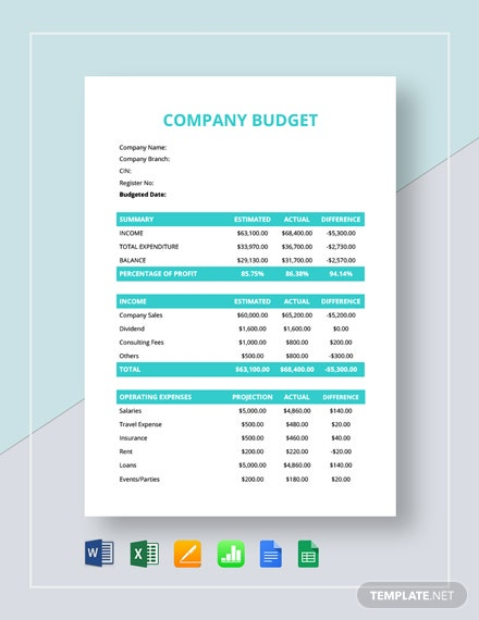 9 Sample Company Budget Templates Word Pdf Excel Free Premium Templates