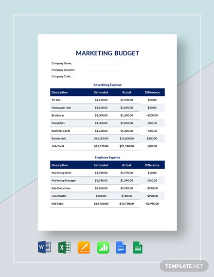 Marketing Budget Template 30 Free Word Excel Pdf