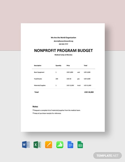 Free Nonprofit Program Budget Template