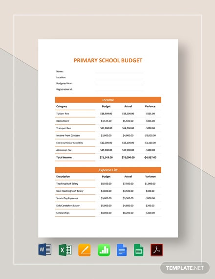 Primary School Budget Template