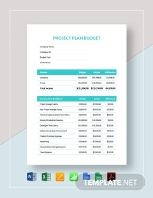 Project Plan Budget Template