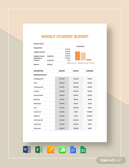 11+ Student Budget Templates - Free Sample, Example, Format Download