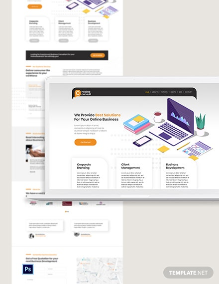 Business Consultant PSD Landing Page Template