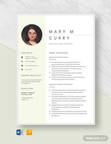 Application Chemist Resume Template