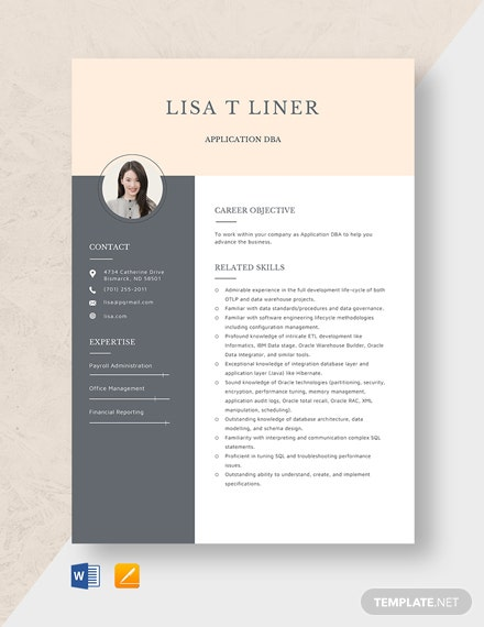 Application DBA Resume Template
