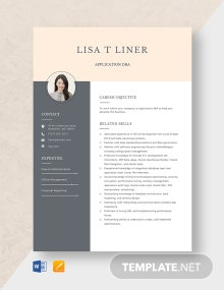 Application DBA Resume Template