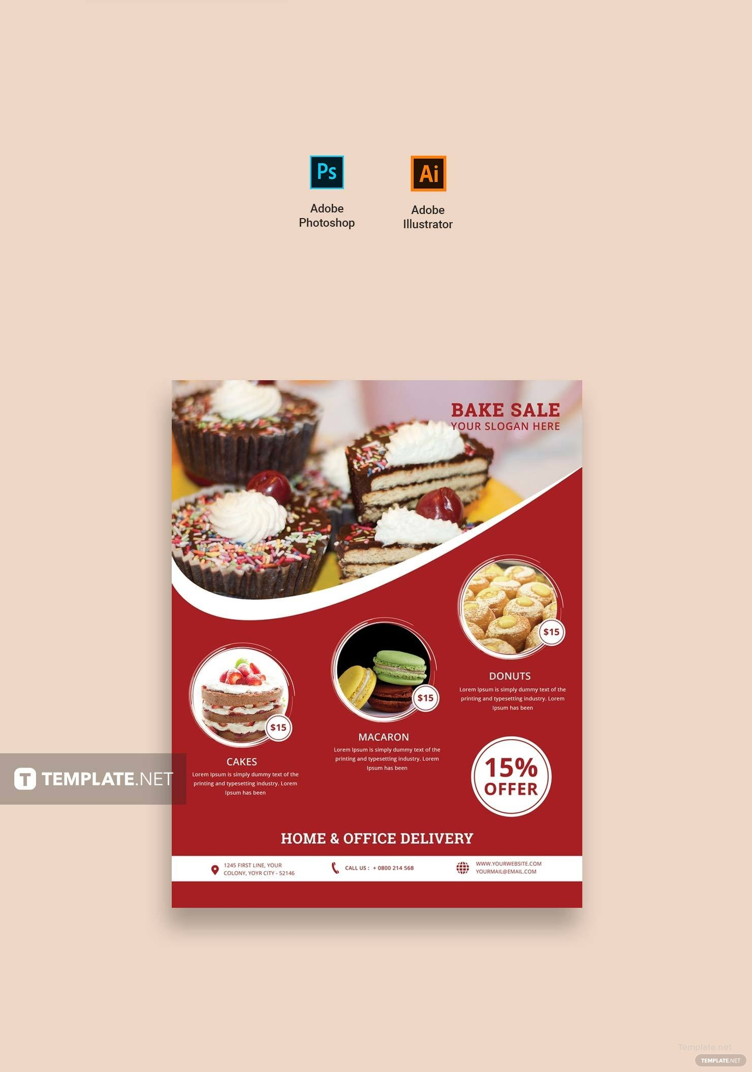 free printable bake sale flyer template in adobe photoshop  illustrator  microsoft word