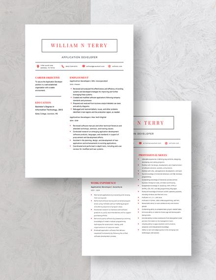 Application Developer Resume Download