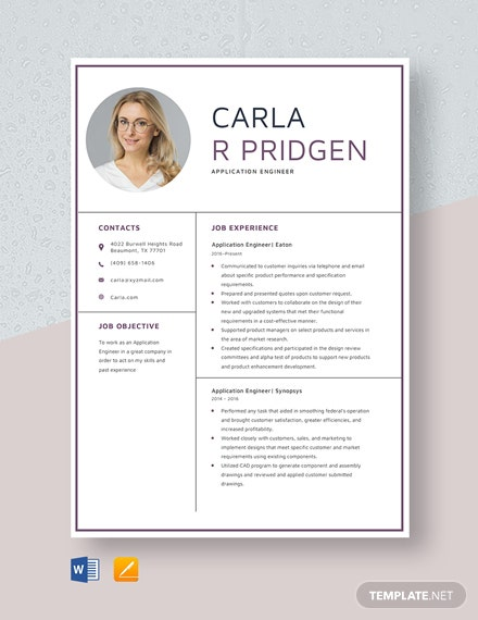 Application Engineer Resume Template