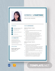 Application Manager Resume Template