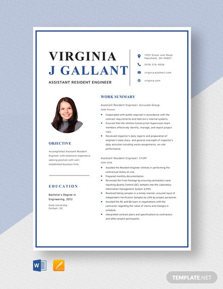 Assistant Resident Engineer Resume Template