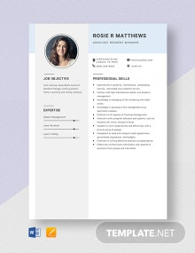 Assistant Resident Manager Resume Template