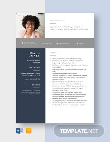 Assistant Retail Manager Resume Template