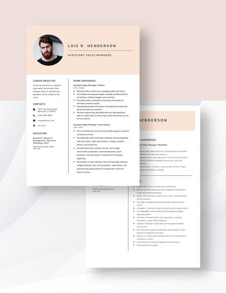 Assistant Sales Manager Resume Download