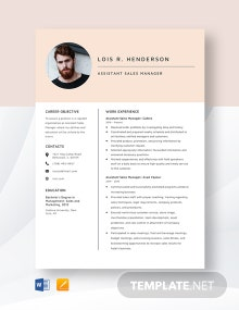 Assistant Sales Manager Resume Template