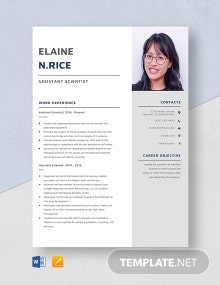 Assistant Scientist Resume Template