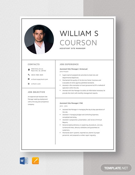 Assistant Site Manager Resume Template