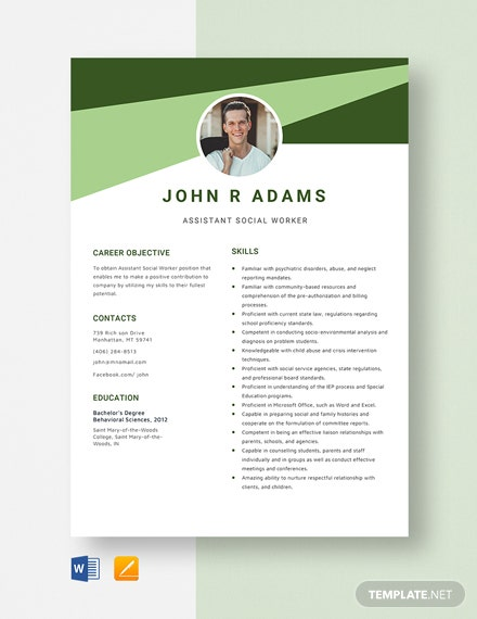 Assistant Social Worker Resume Template