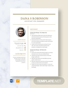 Assistant Spa Manager Resume Template