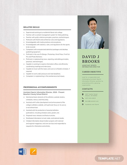 Assistant Sports Information Director Resume Template