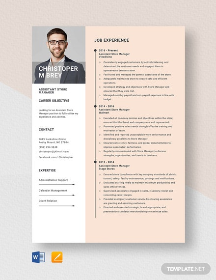 Assistant Store Manager Resume Template