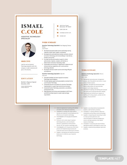 Assistive Technology Specialist Resume Download