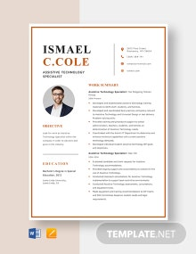 Assistive Technology Specialist Resume Template