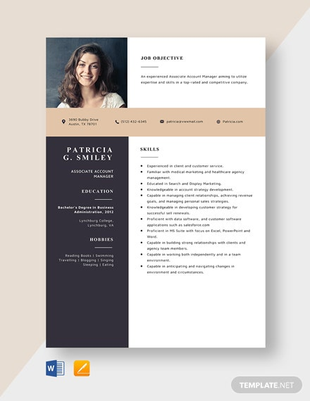 Associate Account Manager Resume Template