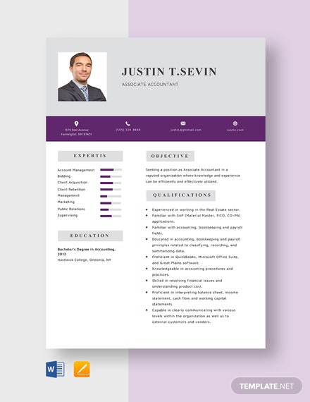 Associate Accountant Resume Template