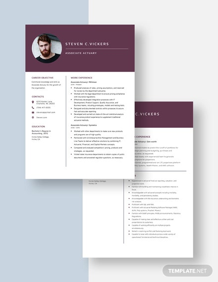 Associate Actuary Resume Download
