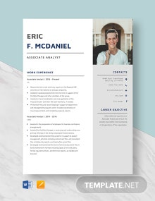 Associate Analyst Resume Template