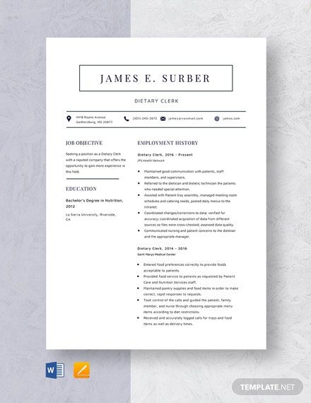 Dietary Clerk Resume Template