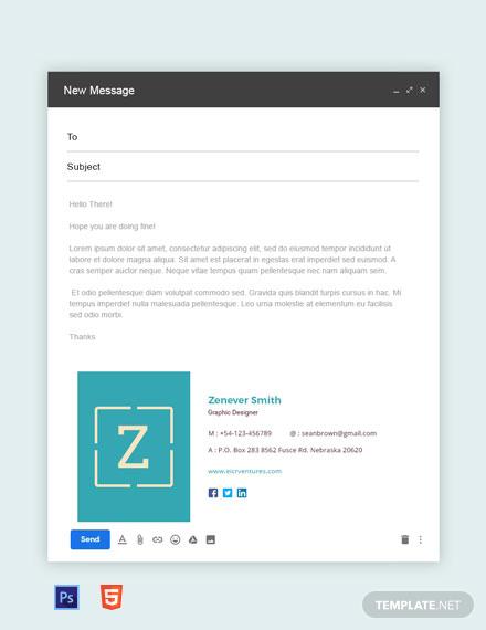 Free Creative Graphic Designer Email Signature Template