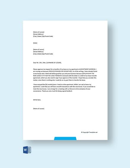 Apartment Lease Transfer Letter