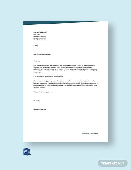 Free Mechanical Engineer Cover Letter