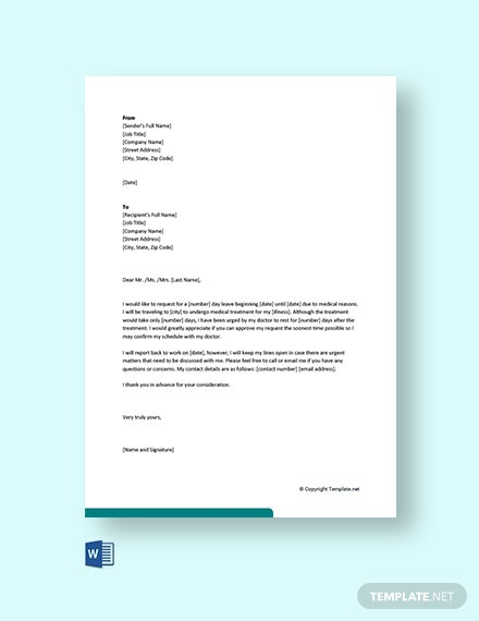 Medical-Leave-Letter-for-Employee Official Request Letter Template on fundraising donation, salary increase, food donation, day off, for medical records, schedule change, sample formal, for birth certificate,