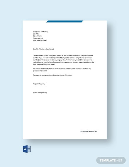 FREE Medical Leave Letter for School Template - Word