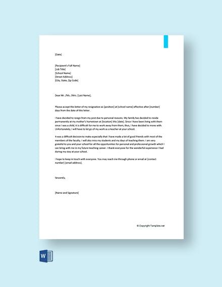 Free Teacher Resignation Letter for Personal Reasons