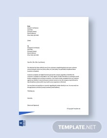 Free Warning Letter to Employee for Customer Complaint