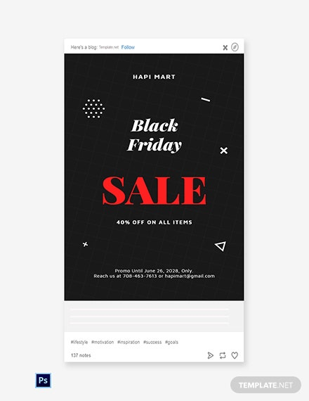 Free Black Friday Sale Tumblr Post Template