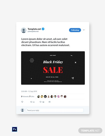 Free Black Friday Sale Twitter Post Template