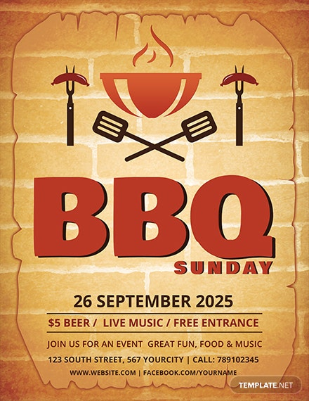 free bbq sunday flyer template 1x